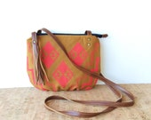 date purse  • geometric crossbody bag - gifts under 50 • neon - hot pink geometric print - golden orange - screenprinted • vukani
