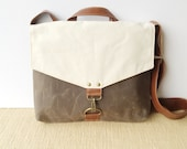 commuter • mens or womens crossbody messenger bag • natural canvas - brown waxed canvas - industrial olive canvas • scout