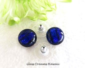 Blue Indigo Glass Stud Ea...
