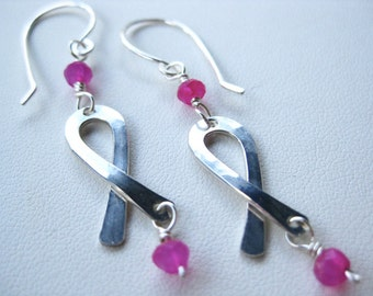 Breast Cancer Earrings, Silver Breast Cancer Ribbon Earrings, Silver Ribbon Earrings with Pink Stones