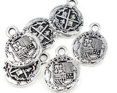 Pieces of Eight Antique Silver Pirate Treasure Charms by TierraCast Pewter - Silver Charms Silver Doubloon Charms  (P737)