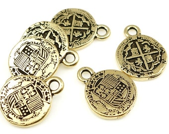 Pieces of Eight Antique Gold Charms - Pirate Treasure Charms by TierraCast Pewter - Gold Spanish Coin Charms (P738)
