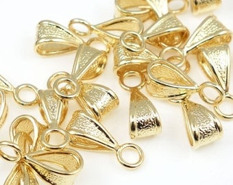 24 Gold Bails Plated Bright Gold Pendant Bail Findings Necklace Bails Closed Loop Jewelry Findings Necklace Findings (FB14)
