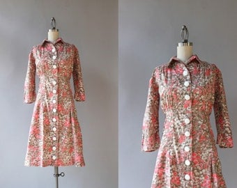 1940s Dress / Vintage 50s Pink Floral Day Dress / 40s Cotton Floral Dress