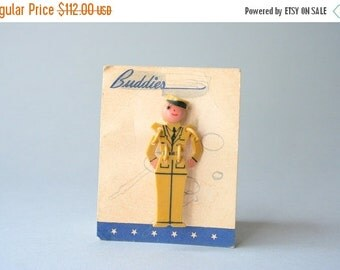 STOREWIDE SALE 1940s Buddies Brooch / Vintage 40s Segmented Celluloid Novelty Pin / World War Two Era Buddy Brooch