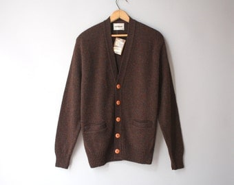 Vintage Men's Wool Cardigan / 1970s Wool Sweater / Vintage Deadstock Nos Campus Cardigan medium