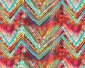 Whispers Chevron Digital Multicolored Red Rooster Fabric 1 yard