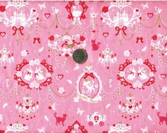 One Yard Japanese Cotton Fabric Chandelier Rabbit Bambi Deer Castle Swan Cat 2 colors to choose