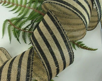 "Burlap Black Stripe 2 1/2"" Wired Ribbon Wire Edge Wedding Country Jute Wreaths"