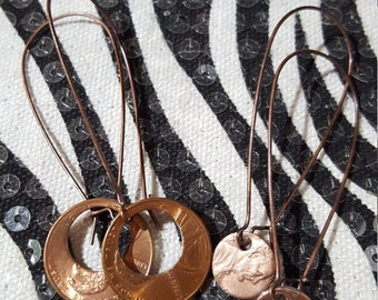 Best Friend, Sisters Penny Earrings, Mother Daughter Jewelry, Family & Friends Unique Gift, Handmade Penny Jewelry, Together We Make Cents