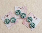 Leafy Teal Porcelain Buttons-Small Teal Buttons-Teal Ceramic Buttons-Aqua Buttons-Handcrafted Buttons-Artisan Buttons