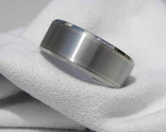 Titanium Ring with Two White Gold Pinstripe Inlays, Wedding Band