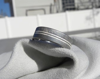 Titanium Ring Double Centered Pinstripe Silver Inlays Wedding Band