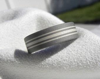 Titanium Silver Inlay Stripes Ring Wedding Band Sandblasted Finish