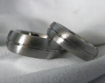 Titanium Ring or Wedding Band, Matching Ring SET, Stone Finish