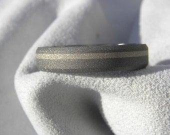 Ring or Wedding Band, Beveled Edge, Titanium with White Gold Inlay