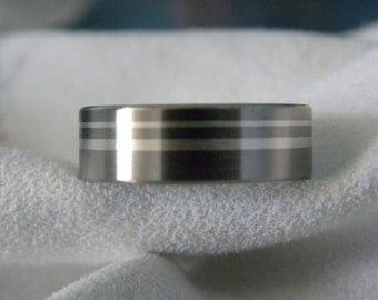 Titanium Ring with Silver Stripes, Wedding Band, Satin Finish