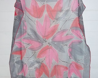 Vintage Vera Verasheer Silk Blend Pink Red Leaves on Grey Scarf Square Large
