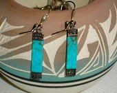 "Turquoise, Sterling Silver, Dangle Earrings, Southwestern,  80s, Long Dangles, 2"" Long, 1/4"" wide, Leverback Clasps, Goddess, Travel"