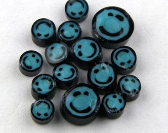 Handmade Lampwork Murrine Turqoise Smiley Face 104 COE Murrini slices 15 - R