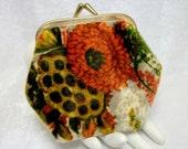 Floral Velvet Change Purse - Vintage 60s