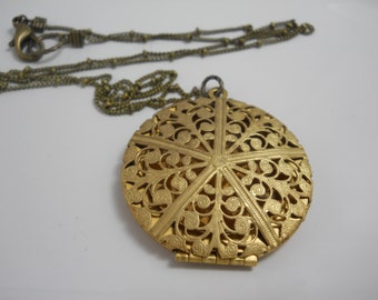 Large Vintage Brass Filigree Locket on Brass Beaded Chain You Choose Length Gold Brass Women's Necklace Gift Keepsake Classic Locket
