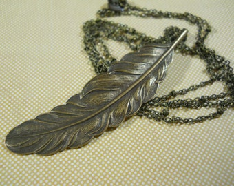 Layering Feather Necklace Long Boho Nature Organic Brass Feather on Long Brass Chain You Choose Length Woodland Jewelry