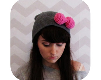 huge crochet puffy pink bow knit grey beanie - vegan