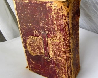 1848 Leather Bound Red Bible  With Tab Closure, Published by American Bible Society