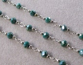 Faceted Blue/Green Metallic AB Rondelle Glass 6mm Beaded Rosary Chain Antique Silver 978