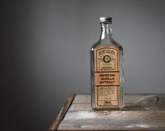 Vintage Bottle, Antique J.R. Watkins, Imitation Vanilla Extract, Vintage Collectibles, Vintage Bottle with Label, Collectible Glass