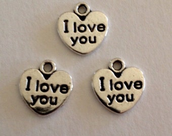 9 I Love You Charms - 2 Sided - Antique Silver - SC161#GY