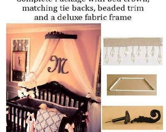 wall coronet , bed canopy , crib canopy, Parisian room decor, black baby bed canopy,