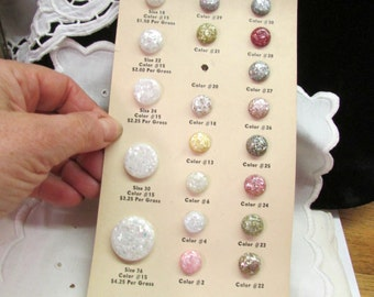 Vintage 1950's Buttons on Original Card Sampler Rainbow Oriental Ocean Mother of Pearl Embedded in Lucite Pearl Products, Philadelphia