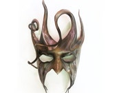 Devilish Jester or Tree Leather Mask with Spirals and Horns