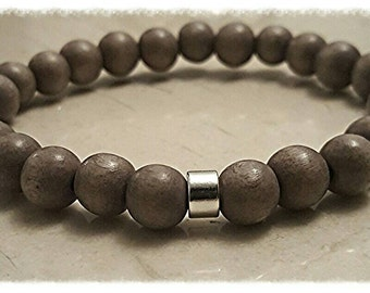 wood bead bracelet, mens wood bracelets, unisex bracelet,beaded bracelet | gift for him | gray bracelet|boho jewelry| gift for boyfriend