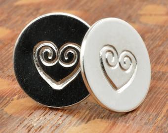 Swirly Heart Studs in Sterling Silver