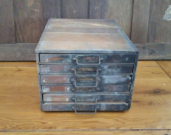 Antique Wood Dentists Tooth Cabinet