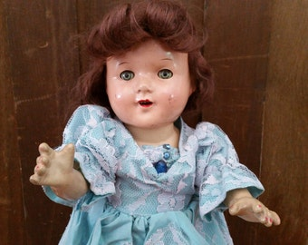 "Vintage Composition Doll With Teeth 15"" Great Collectable Creepy Decor"