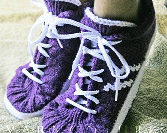 Famous Maker Inspired Handknit Tennis Shoes / Slippers For Women - Teens