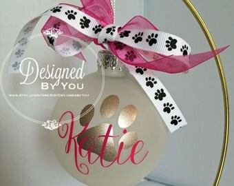 Personalized Paw Frosted Ornament
