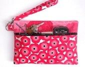 Pink White Black Floral Wristlet Purse, Small Zippered Clutch, Makeup or Phone Holder, Camera or Gadget Bag, Pink Wristlet Wallet Cell Phone