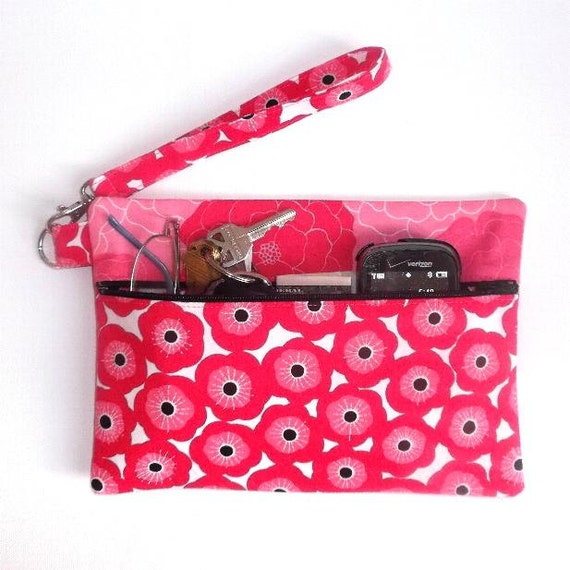 Pink White Black Floral Wristlet Purse Small Zippered Clutch
