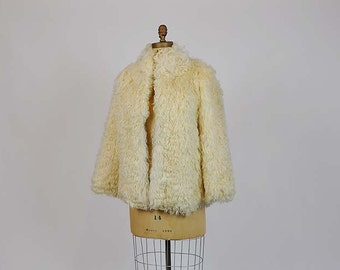 1970s coat / Shaggy Vintage 70's Mongolian Tibetan Curly Lamb Fur Coat