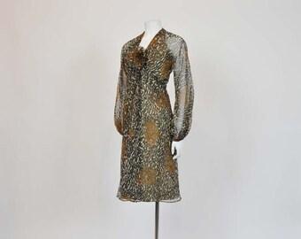 1970s dress / Vintage 70's Chiffon Leopard Travilla Cocktail Party Dress