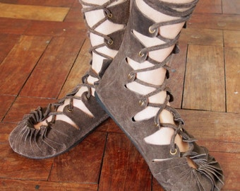 lace up leather boots lace up boots medieval pixie gladiator boots roman boots suede boots leather boots tribal boots