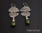 Silver long dangle earrings, Long Oxidized Silver and Vesuvenite Earrings, green stones