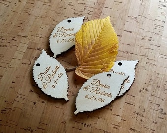 50 wood engraved leaf shaped hang tags