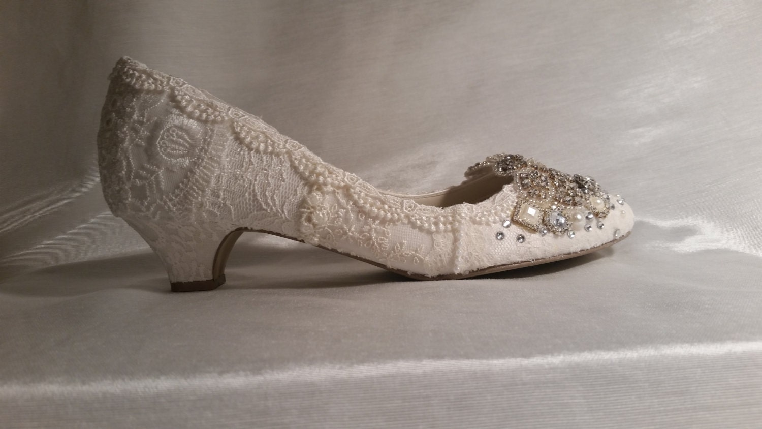 Low Heel Wedding Shoes Ivory Lace Wedding Shoes Vintage