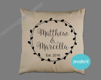 Personalized Wedding Gift Pillow Cover Pillow Case Customizable